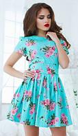 Актуальное пышное женское платье с цветочным принтом рукав короткий летний джинс