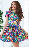 Яркое пышное женское платье с цветочным принтом рукав короткий летний джинс
