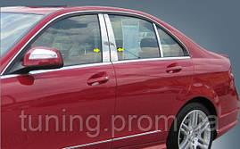 Хром накладки на дверные стойки Mercedes-Benz C-Class 2008-2011