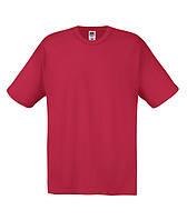 Молодежная однотонная мужская футболка кирпично-красная