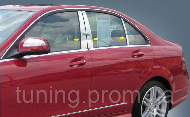 Хром накладка на дверные стойки Mercedes-Benz C-Class 2008-2011