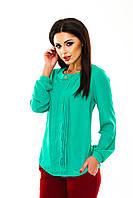 Блуза женская шифоновая с длинным рукавом - Зеленый
