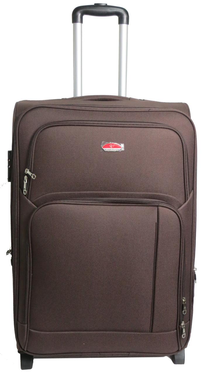 Большой тканевый 2-колесный чемодан для всей семьи 95 л. Suitcase 913755-brown коричневый