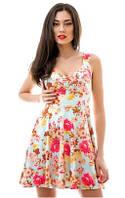 Замшевое летнее  женское платье с цветочным принтом на бретелях с пышной юбкой