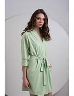 Женский зеленый трикотажный халатик в мелкий горошек LDG 027-001 Ellen