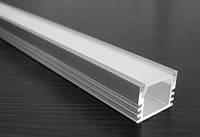 Алюминиевый профиль для светодиодной ленты АЛП1612 + рассеиватель(матовый), фото 1