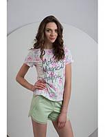 Трикотажная женская пижама с крупными цветами LNP 029/001 Ellen