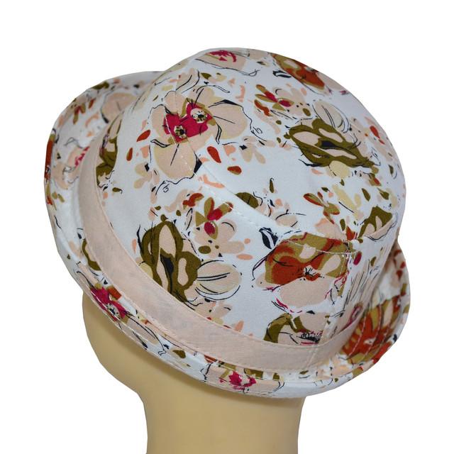 Шляпа котелок мини индия персик