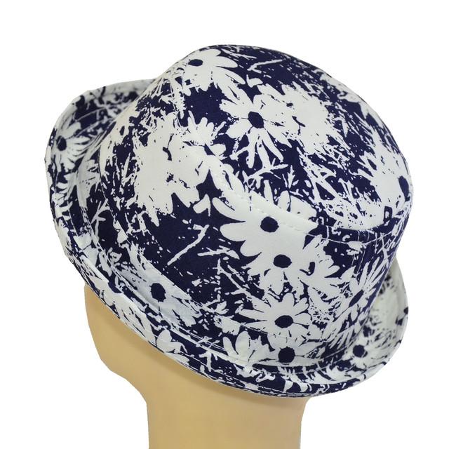 Шляпа котелок мини ромашка на синем