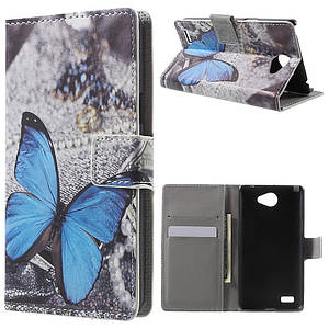 Чехол книжка для LG Max X155 боковой с отсеком для визиток, Голубая бабочка