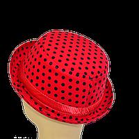 Шляпа детская котелок черные горохи на красном