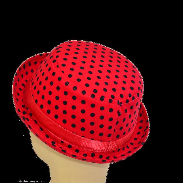 Шляпа котелок мини черный горох на красном