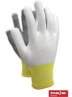 Перчатки защитные, рабочие из полиестера с односторонним микроточечным покрытием, Rejs RTENA