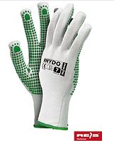 Перчатки защитные нейлоновые с точечным покрытием с одной стороны ПВХ, Rejs RNYDO 12 шт.
