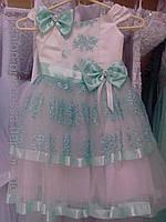 """Нарядное детское платье """"Милашка"""" (тифанни/ нежно-зеленое) на 2-4 года"""
