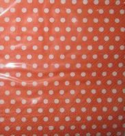 Салфетки бумажные оранжевые в горошек