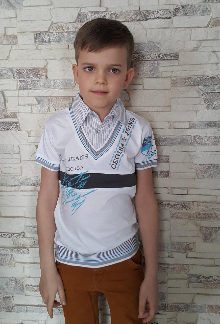 Белая рубашка-обманка на мальчиков 116,122,128,134 роста Vhite