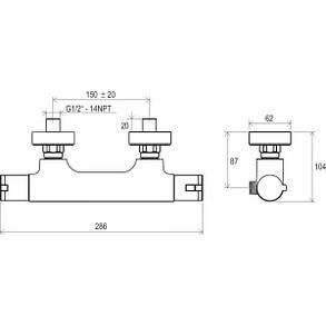 Ravak Termo TE 032 00 Термостатический смеситель для душа без лейки, фото 2