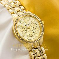 Наручные женские часы на кожаном ремешке Rolex gold gold (05522)