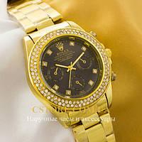 Кварцевые женские наручные часы ШвейцарскиеRolex Cosmograph Daytona gold black (05523)