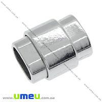 Замок магнитный для вклеивания шнура, Темное серебро, 19х15 мм, 1 шт (ZAM-015518)