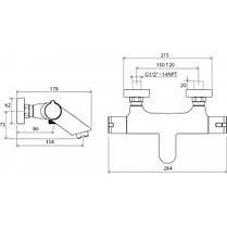 Ravak Termo TE 022 00 Термостатический настенный смеситель для ванны, фото 3