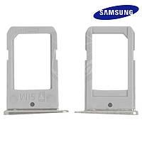 Держатель SIM-карты для Samsung G925F Galaxy S6 EDGE, оригинал (белый)