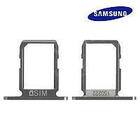 Держатель SIM-карты для Samsung Galaxy S6 G920F, черный, оригинал