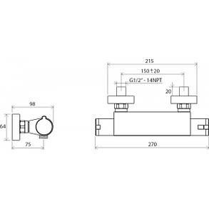 Ravak Termo TE 072 00 Термостатический смеситель для душа настенный без лейки 150 мм, фото 2