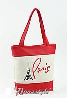 Молoдежная женская сумка с вышивkoй Parig  Ко бело/красный