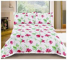 Покривало двоспальне 230х250 Valtery софткоттон PMP-13 рожеві квіти