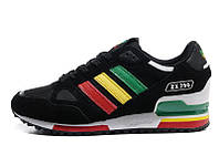Кроссовки мужские Adidas ZX750 Black Rinbow  беговые замша