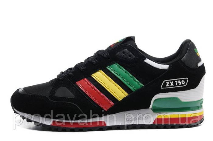 d4d433faee38 ▻ Купить Кроссовки мужские Adidas ZX750 Black Rinbow беговые замша ...