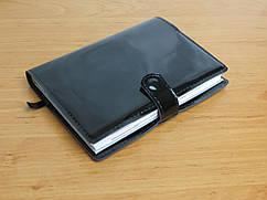 Кожаная обложка для блокнота, ежедневника 60312, ДхШ: 15х22 см. чёрный лак