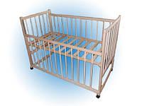 Детская кроватка Мальвина, дуга-колеса, бук, опускная боковина