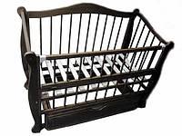 Детская кроватка Чебурашка, шарнир-подшипник, бук, откидная боковина, ящик, фото 1