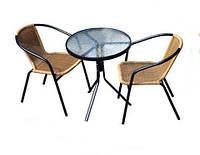 Мебель из искусственного ротанга для дачи «Rita»: столик+2 кресла, цвет натуральный