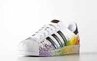 Кроссовки мужские  Adidas Superstar Supercolor белые