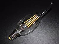 """LED лампа Эдисона C-35  (4w) E-14 (CLEAN) (AMBER) """"NEW"""" filament (свеча на ветру)"""