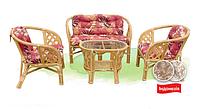 Дачная мебель из ротанга, комплект для отдыха Phuket, мягкие тканевые подушки (3 вида расцветки)