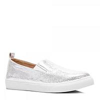 Модные слипоны серебристо-белого цвета Польша все размеры