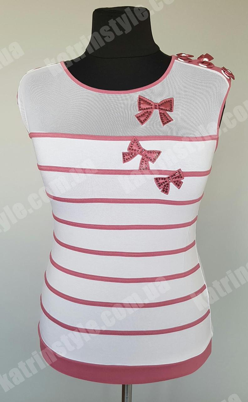 Оригинальная женская футболка в полоску украшенная бантиками и стразами
