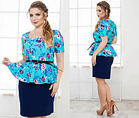 Батальное платье с баской 3 цвета