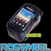 Велосипедная сумка на раму для смартфона Roswheel M Красная полоска