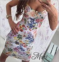 Цветочное платье с декольте и коротким рукавом
