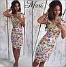 Цветочное платье с декольте и коротким рукавом, фото 3
