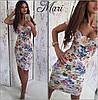 Цветочное платье с декольте и коротким рукавом, фото 4