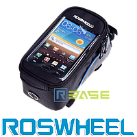 Велосипедная сумка на раму для смартфона Roswheel M Синяя полоска