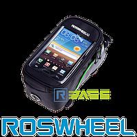 Велосипедная сумка на раму для смартфона Roswheel M Зеленая полоска