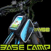 Велосипедная двухсторонняя сумка на раму для смартфона BaseCamp S Голубая